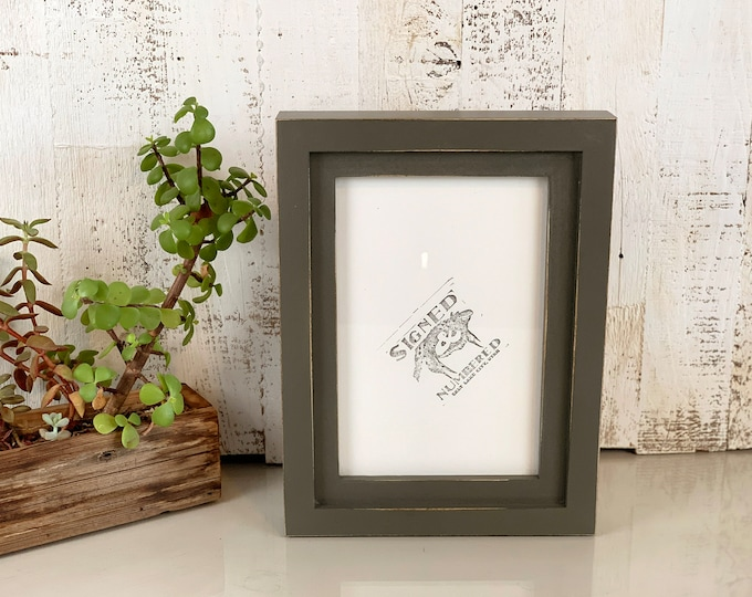 "6x9"" Picture Frame in 1x1 Flat Build Up Style with Vintage Sable Gray Finish - IN STOCK - Same Day Shipping - 6 x 9 inch Picture Frames Grey"