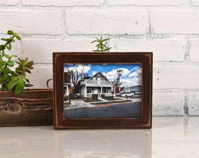 5x7 Picture Frame in 1x1 Outside Cove Style with Vintage Dark Wood Tone Finish - IN STOCK - Same Day Shipping - 5 x 7 Frame Solid Hardwood