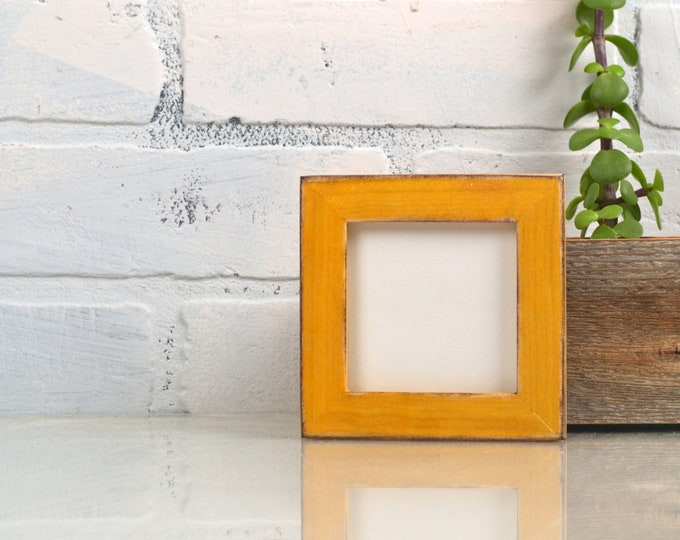 """3x3"""" Square Picture Frame in Peewee style and Super Vintage Honey Dye on Poplar Finish - IN STOCK - Same Day Shipping - 3x3 Photo Frame"""