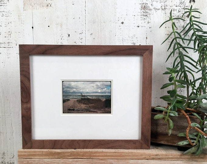 7x9 Picture Frame in Solid Natural Walnut Peewee Style - IN STOCK - Same Day Shipping - 7 x 9 Mid Century Modern Frame Solid Hardwood