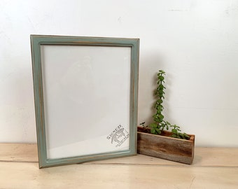 """11x14"""" Picture Frame in Double Cove Style with Super Vintage Homestead Green Finish - IN STOCK - Same Day Shipping - Handmade 11 x 14 Frame"""