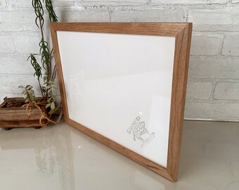 "11x14"" Picture Frame in Solid Natural Cherry Peewee Style - IN STOCK - Same Day Shipping - Handmade 11 x 14 Solid Hardwood"