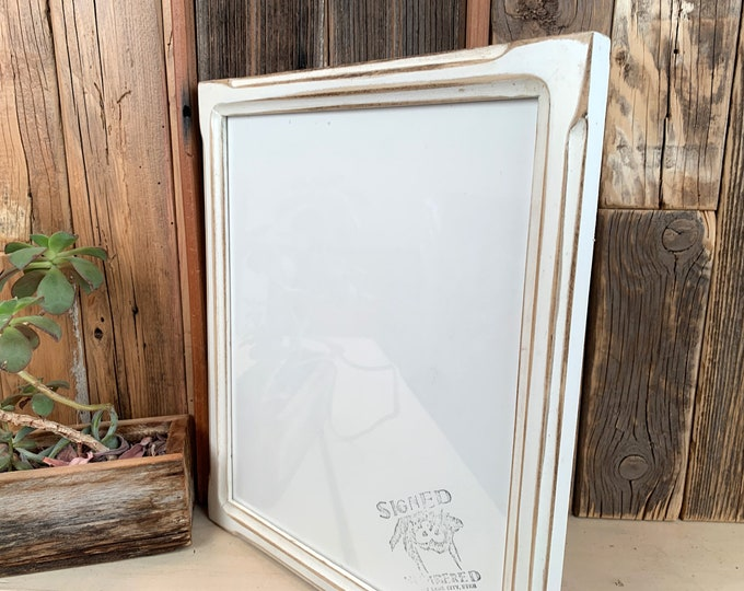 10x12 Picture Frame in 1x1 Shallow Bones style with Vintage White Finish - IN STOCK - Same Day Shipping 10 x 12 inch Wood Frame Rustic White