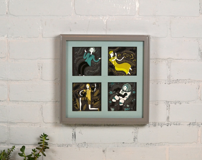 Window Pane Style Multiple Opening Frame for (4) 4x4 Photos in SOLID Color Combination of YOUR CHOICE - Collage Frame 4x4