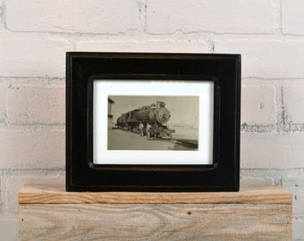 """5x7"""" Picture Frame in Wide Double Cove Style with Vintage Black Finish - IN STOCK - Same Day Shipping - 5 x 7 Photo Frame Black"""