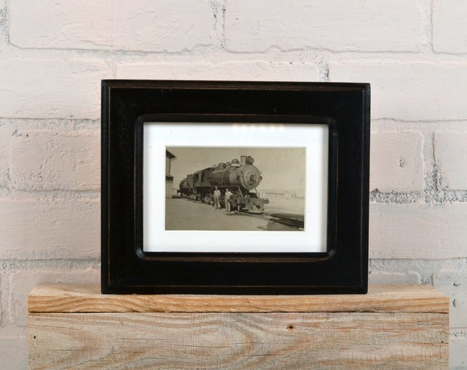 "5x7"" Picture Frame in Wide Double Cove Style with Vintage Black Finish - IN STOCK - Same Day Shipping - 5 x 7 Photo Frame Black"