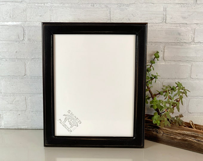 "Handmade 11x14"" Picture Frame in 1.5 Wide Double Cove style with Vintage Black Finish - IN STOCK - Same Day Shipping - Modern Black Frame"