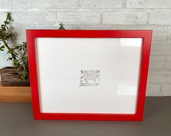 """11x14"""" Picture Frame in 1x1 Flat Style with Vintage Ruby Red Finish - IN STOCK - Same Day Shipping - Handmade 11 x 14 Solid Hardwood"""