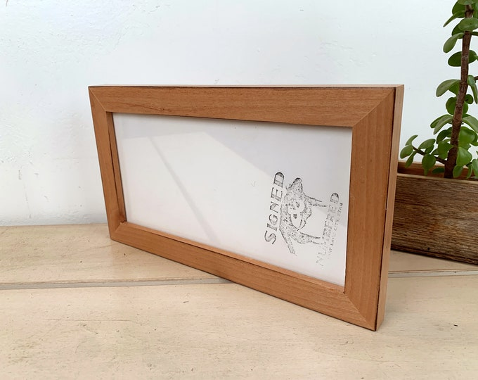 """5x10"""" Picture Frame in 1x1 Flat Style with Burnished Natural Alder Finish - IN STOCK  Same Day Shipping - 5 x 10 inch Panoramic Photo Frame"""