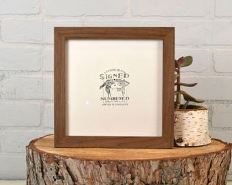 8x8 Square Picture Frame in 1x1 Flat Style with Natural Walnut Finish - In Stock Same Day Shipping - 8 x 8 Photo Frame Rustic