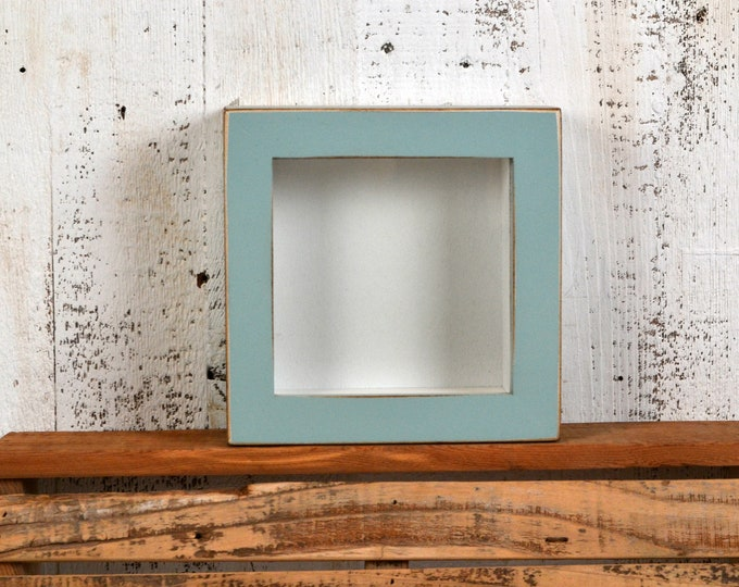 "Small Shadow Box Frame - Holds up to 4.5 x 4.5 x 1.25"" Deep - Vintage Homestead Green Finish - IN STOCK - Same Day Shipping 4x4 Display Box"
