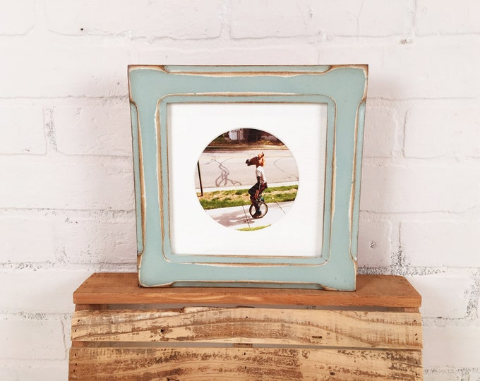 "7x7"" Square Picture Frame in Wide Bones Style with Super Vintage Homestead Finish - IN STOCK - Same Day Shipping - 7 x 7"" Frame Rustic Green"