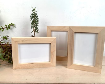 4x6 Picture Frame - SHIPS TODAY - 1x1 Flat Style in Solid Natural Poplar Wood - In Stock - mid century decor 4 x 6 Photo Frame