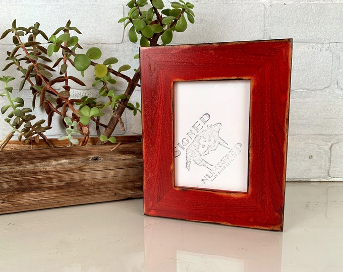 """3.5x5"""" Picture Frame in 1.5"""" Reclaimed Cedar with Super Vintage Red Dye finish - In Stock - Same Day Shipping - Picture Frame 3.5 x 5 inches"""