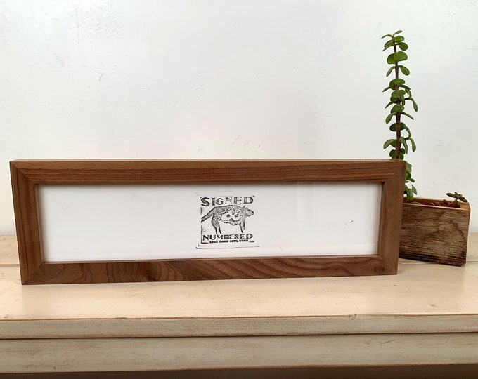 """4x16"""" Picture Frame in 1x1 Flat Style with Solid Natural Walnut Finish - IN STOCK - Same Day Shipping - 16 x 4 Panoramic Photo Frame"""