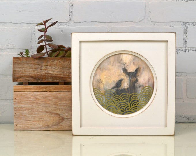6x6 inch Circle Opening Photo / Picture Frame with Deep Flat Build up and in Finish Color of YOUR CHOICE - 6 x 6 Photo Frame