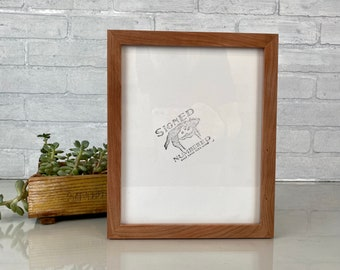 8x10 Picture Frame in Peewee Style with Natural Cherry Finish - IN STOCK - Same Day Shipping - 8x10 Photo Frame Solid Hardwood