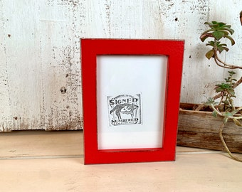5x7 Picture Frame -SHIPS TODAY - 1x1 Flat Style with Vintage Ruby Red Finish - In Stock - mid century decor 5 x 7 Photo Frame Bright Red