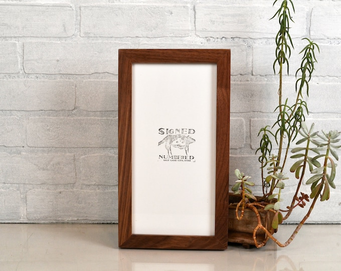 """6x12"""" Panoramic Picture Frame 1x1 Flat Style in Solid Natural Walnut Finish - IN STOCK - Same Day Shipping - Modern 6 x 12 Picture Frame"""