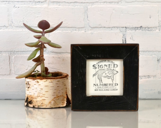 4x4 Reclaimed Wood Picture Frame with Vintage Black Finish - IN STOCK - Same Day Shipping - 4 x 4 Upcycled Cedar Frame Rustic Black