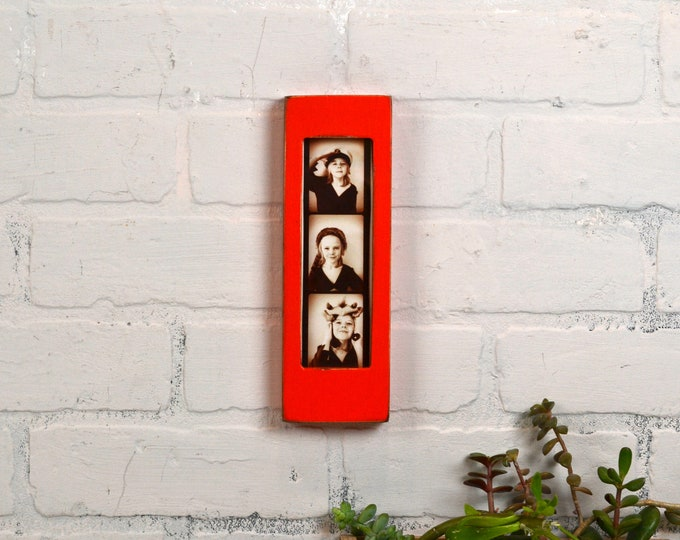 "Photo Booth Frame for 2 x 6 Picture Strip with Vintage Deep Orange Finish - 2x6"" Photo Booth Frame - IN STOCK - Same Day Shipping"
