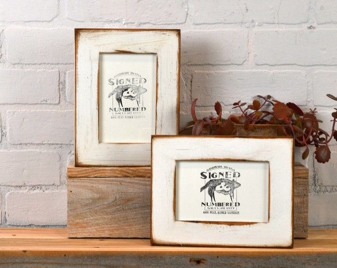 """4x6 Picture Frame 1.5"""" Reclaimed Cedar Wood with Super Vintage White Finish - IN STOCK Same Day Shipping - 4 x 6 Rustic Frame"""