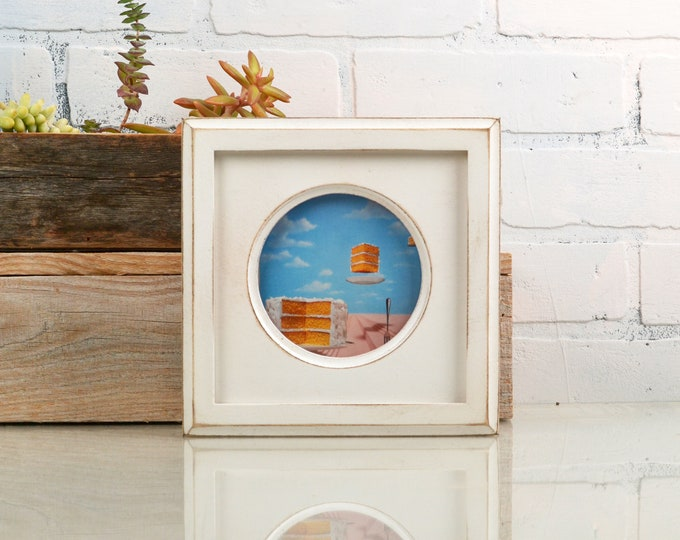 4x4 Solid Wood Circle Opening Picture Frame with Vintage White Finish and Build up Edge - IN STOCK Same Day Shipping - 4 x 4 Round White