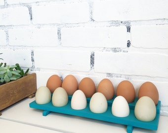 Handmade Wood Egg Holder in Color OF YOUR CHOICE - Turquoise Wooden Egg Rack - Kitchen Storage - Gift for Chicken Owners - Cottage Chic