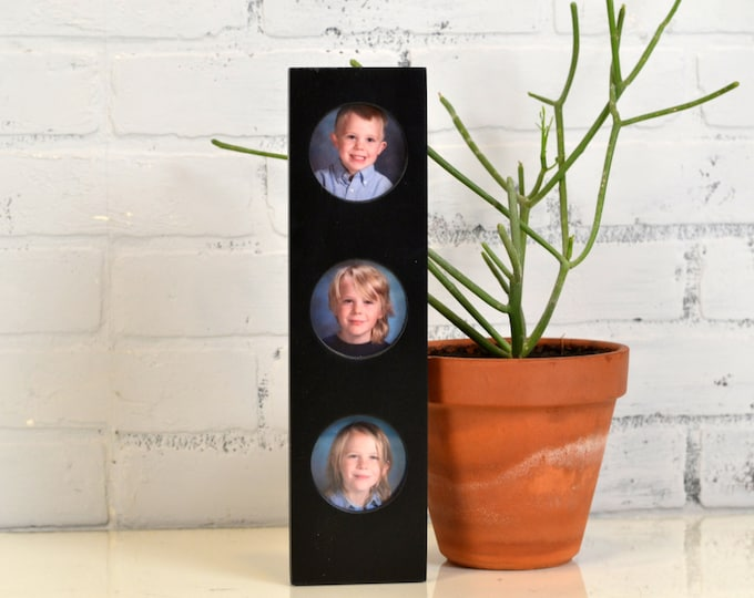 Stacked Circle Window Picture Frame for (3) 2.5 x 3.5 Wallet size or Square Photos with Vintage Black Finish - IN STOCK Same Day Shipping