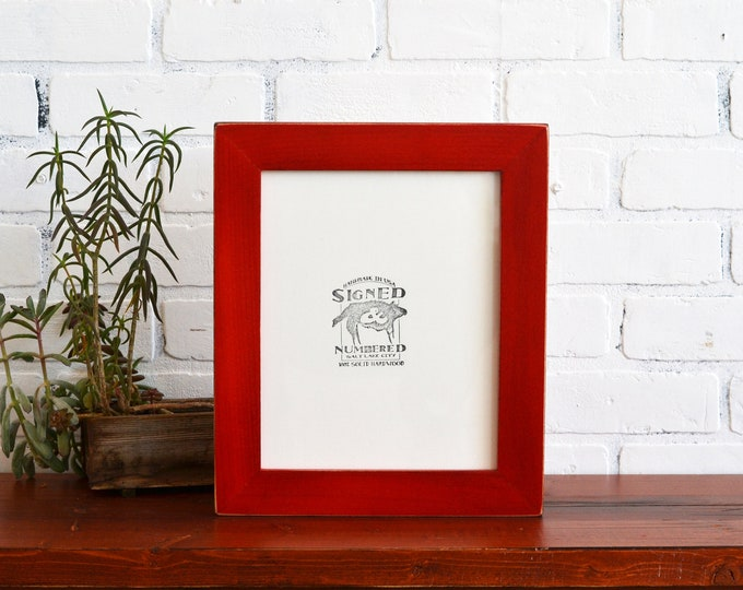 8x10 Picture Frame in 1.5 inch Standard style with Vintage Red Dye Finish - IN STOCK - Same Day Shipping - 8 x 10 inch Red Frames