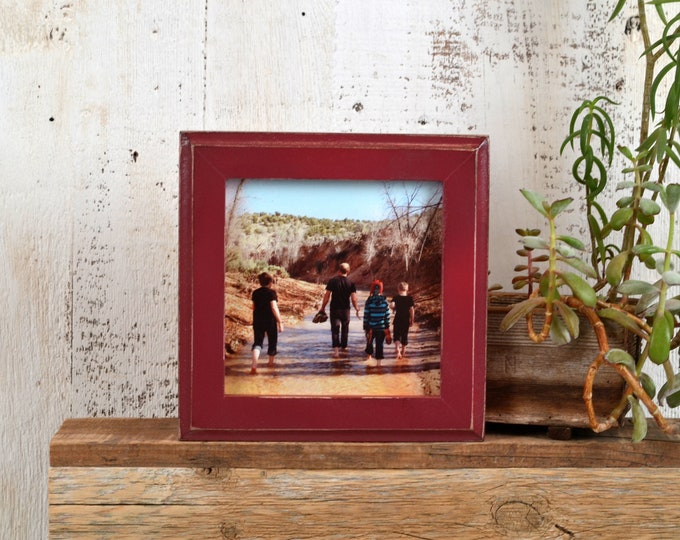 5x5 inch Square Picture Frame in 1x1 Outside Cove Style with Vintage Wine Finish - IN STOCK - Same Day Shipping - 5 x 5 Photo Frame Red