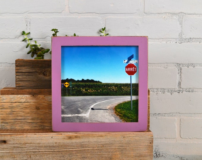 8x8 Square Picture Frame in 1x1 Flat Style with Vintage Violet Finish - In Stock Same Day Shipping - 8 x 8 Photo Frame Purple
