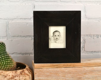"""Wallet Photo Frame 2.5 x 3.5"""" ACEO Card Size in 2.25"""" Roughsawn Reclaimed Style with Solid Black Finish - IN STOCK - Same Day Shipping"""