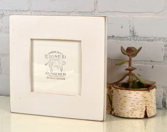 """6x6"""" Square Frame in 2.5 inch Wide style with Vintage White Finish - IN STOCK - Same Day Shipping - Rustic 6 x 6 Photo Frame"""