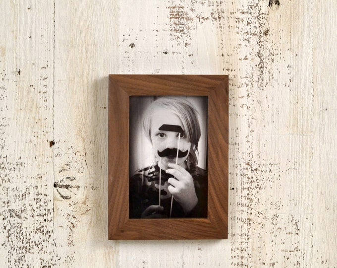 4x6 Picture Frame in 1x1 Flat Style in Solid Natural Walnut - IN STOCK - Same Day Shipping - mid century decor 4 x 6 Photo Frame