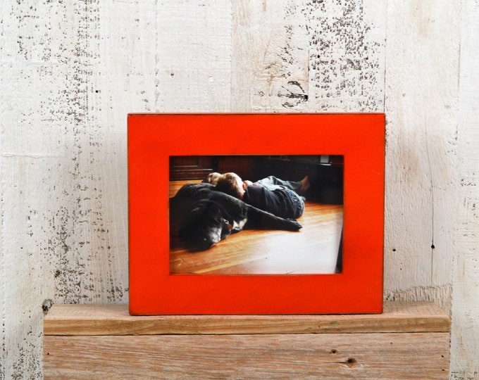 """5x7"""" Picture Frame in 1.5 Standard Style with Vintage Deep Orange Finish - IN STOCK - Same Day Shipping - 5 x 7 Photo Frame Rustic Colorful"""