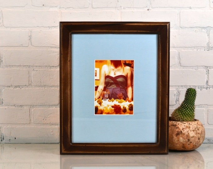 "Handmade 11x14"" Picture Frame in Wide Double Cove style with Super Vintage Dark Wood Tone Finish - IN STOCK - Same Day Shipping Brown Frame"