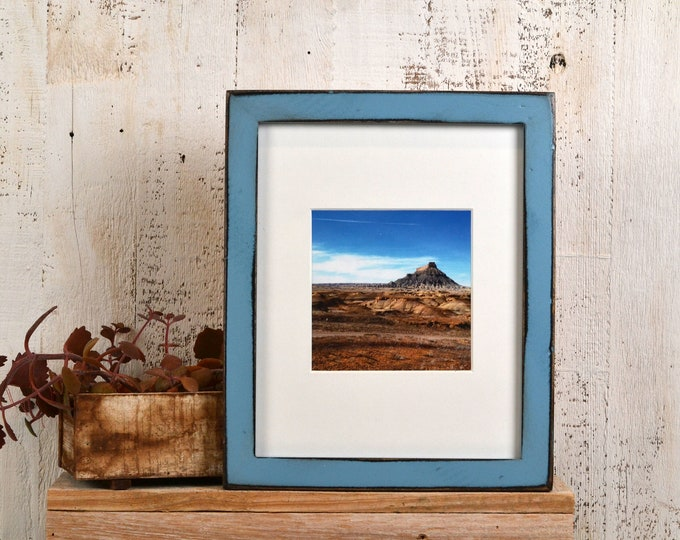 8x10 Picture Frame in 1x1 Flat Style with Super Vintage Black under Smokey Blue Finish - IN STOCK - Same Day Shipping - Rustic Frame 8 x 10