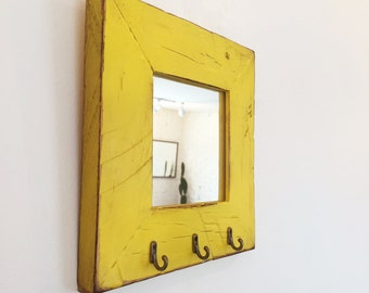 """Entryway Mirror with Three Key Holder Hooks - Choose Your Size & Color - 2.25"""" Reclaimed Wood Mirror - Sizes: 4x4, 4x6, 5x5, 5x7, 4x10, 8x10"""