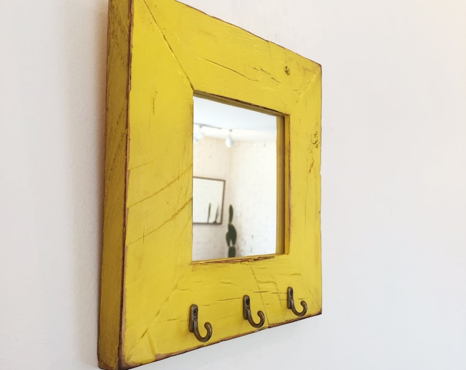 "Entryway Mirror with Three Key Holder Hooks - Choose Your Size & Color - 2.25"" Reclaimed Wood Mirror Sizes: 4x4, 4x6, 5x5, 5x7, 4x10, 8x10"