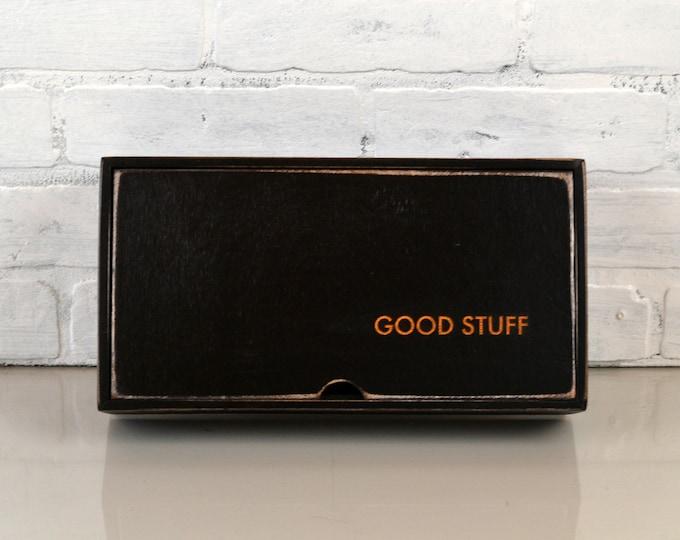 "Keepsake Box ""Good Stuff"" Handmade Solid Wood Black Desktop Box with Rough Sawn Finish gift, storage, organizer IN STOCK - Same Day Shipping"