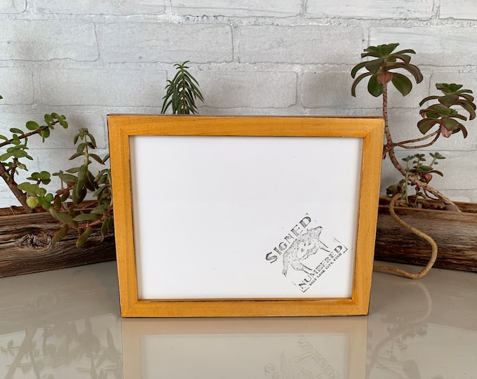 7x9 Picture Frame Peewee Style with Vintage Honey Dye on Poplar Finish - IN STOCK - Same Day Shipping - 7 x 9 inch Modern Frame Hardwood