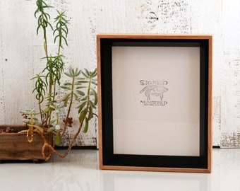 """8x10 Picture Frame in """"Park Slope Plus"""" Style with Solid Black and Natural Alder Finish - 8x10 Photo Frame - In Stock - Same Day Shipping"""