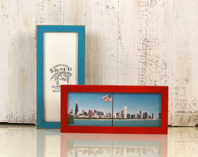"4x10"" Picture Frame for Photo Booth strip or Panoramic Photo in Peewee Style and Color of Your Choice - 2x8 Photo Frame - Panoramic Frame"