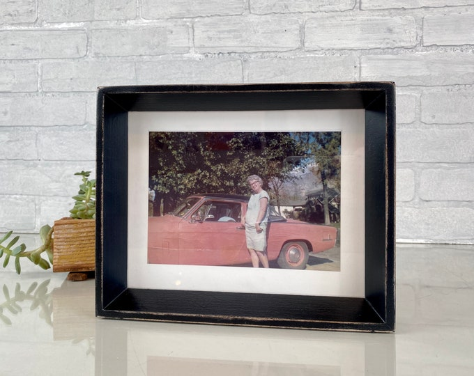 """7x9"""" Picture Frame in Park Slope Style with Vintage Black Finish - IN STOCK - Same Day Shipping - 7 x 9 Frame Modern Black Solid Wood"""