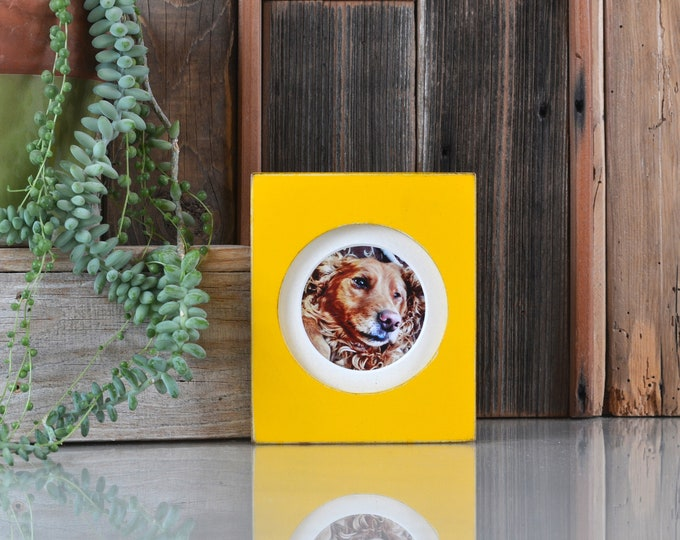 4x4 Pine Circle Opening Picture Frame in Vintage Buttercup Yellow - IN STOCK - Same Day Shipping - 4 x 4 inch Circle Round Picture Frame