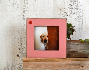 """5x5"""" Picture Frame in 1.5 in Heart Embellishment Style  with Vintage Rose Pink Finish - IN STOCK - Same Day Shipping - 5 x 5 Gift Frame"""