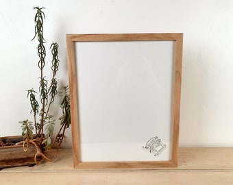 """11x14"""" Picture Frame in Solid Natural Oak Peewee Style - IN STOCK - Same Day Shipping - Handmade 11 x 14 Solid Hardwood"""