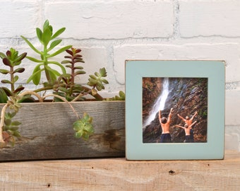 4x4 Square Photo Picture Frame in 1x1 Flat Style with Vintage Homestead Green Finish - IN STOCK -  Same Day Shipping - 4x4 Picture Frame