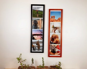 """9x36"""" Panoramic Picture Frame in 1x1 Flat Style and SOLID Finish Color of Your Choice - 36 x 9 inch Photo Frame Odd Size Giant Photo Booth"""